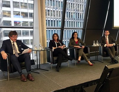 IMAGE: Panelists at the MSCI/REALPAC Canada Annual Property Index event in Toronto, from left moderator Michael Brooks of REALPAC, managing director and portfolio manager Christine Iacoucci of BentallGreenOak, CFO Teresa Neto of Granite REIT, andCBRE executive vice-president and managing director Jon Ramscar. (Steve McLean RENX)