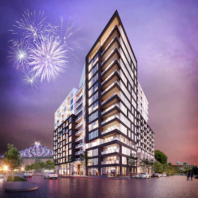 IMAGE: MACH has brought in a partnership of Devimco Immobilier and Fonds immobilierre FTQ to develop 2,000 condominiums at the Quartier des lumières. (Courtesy MACH)