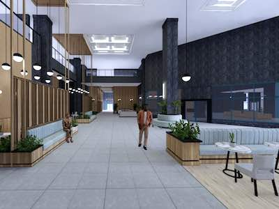 IMAGE: Rendering of an interior public space at Constitution Square in Ottawa.