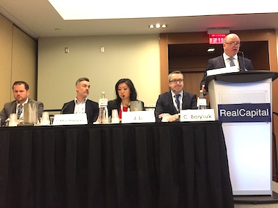 IMAGE: Panelists discussing equity in Canadian real estate financing and investment at RealCapital 2020 in Toronto, from left: Michael Tsourounis of Timbercreek, Scott MacPherson of Cushman & Wakefield Structured Finance ULC, Jenny Li of BMO Capital Markets, Colin Baryliuk of KingSett Capital and moderator Hugh Gorman of Colonnade BridgePort. (Steve McLean RENX)