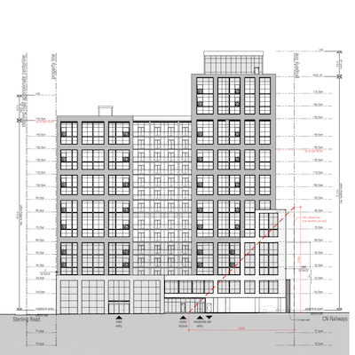 IMAGE: An elevation drawing shows the layout of a planned condo building on Marlin Spring's newest development site on Sterling Ave. in Toronto's Junction Triangle. (Courtesy Marlin Spring)