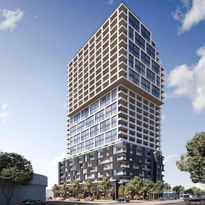 IMAGE: Timbertrin, a partnership between Trinity Development and Timbercreek, proposes this 25-storey condo and retail tower for the corner of Bloor and Dundas in Toronto. (Courtesy Trinity)
