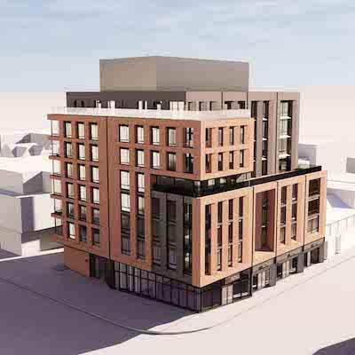 IMAGE: Timbertrin also plans to build this eight-storey condo and retail mid-rise for the corner of Queen and Bathurst streets in Toronto. (Courtesy Trinity)