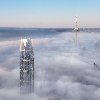 IMAGE: SkyTower at Pinnacle One Yonge will be second only to the CN Tower in total height in Toronto. (Courtesy Pinnacle International)