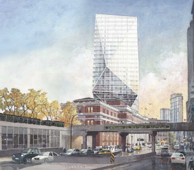IMAGE: Street-level view of Cadillac Fairview's proposed The Crystal at Waterfront Square office tower in Vancouver. (Courtesy CF)