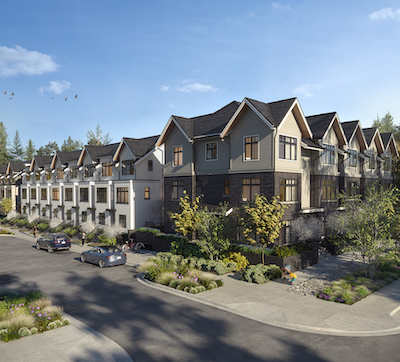 IMAGE: Holland Row is one of PC Urban's inaugural residential projects along the Capilano River. (Courtesy PC Urban)