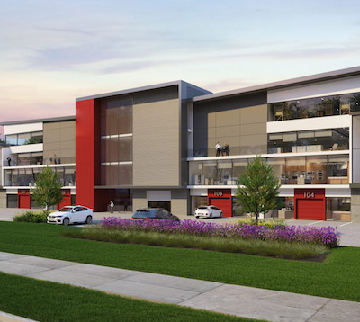 IMAGE: Vanguard will be a four-storey, 200,000-square-foot light industrial strata building in Richmond, B.C. (Courtesy Alliance Partners/United Allied)
