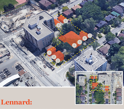 IMAGE: Lennard Commercial Realty compiled this assembly of nine properties at Bayview and Eglinton in Toronto, for sale to Revera. (Courtesy Lennard)