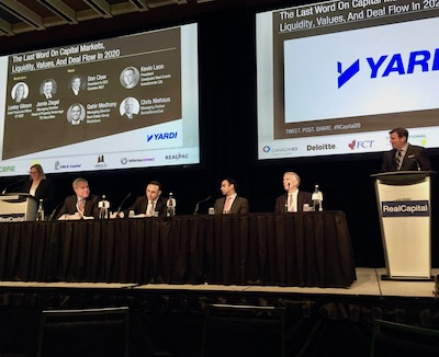 IMAGE: Panelists during the wrapup discussion at RealCapital 2020 in Toronto; from left moderator Lesley Gibson of CT REIT, Don Clow of Crombie REIT, Kevin Leon of Crestpoint, Qahir Madhany of Blackstone, Chris Niehaus of Bentall Greenoak, moderator Jamie Ziegel of TD Securities. (Steve McLean RENX)
