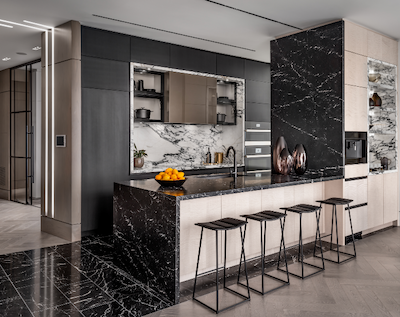 IMAGE: The Ten York innovation suite kitchen features smart appliances and faucets. (Courtesy Tridel)