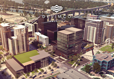 IMAGE: This rendering shows the location of the four condo and rental towers which Devimco plans to construct as part of the City of Longueuil's new downtown core. (Courtesy Devimco)