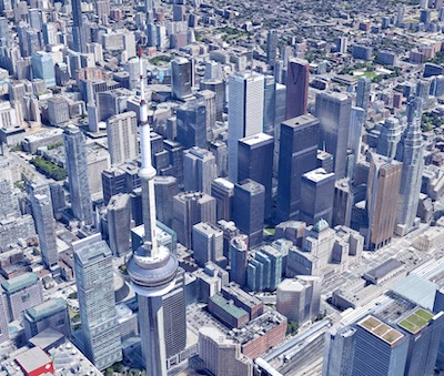 IMAGE: Downtown Toronto, a view looking northeast from the waterfront. (Google Street View)