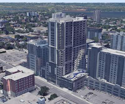 IMAGE: The Regency on Main apartment tower in Hamilton. At right is the adjacent hotel, attached by a podium. (Google Maps)