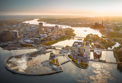 IMAGE: Zibi is a major Ottawa mixed-use development being led by Dream Unlimited. (Courtesy Dream Unlimited)