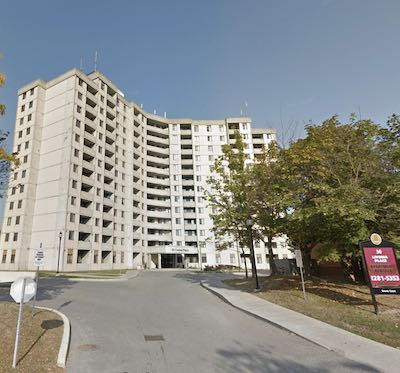 IMAGE: This apartment tower at 30 Livonia Place in Toronto is one of eight properties where CAPREIT has moved to buy out its operating lease earlier than planned. (Google Maps)