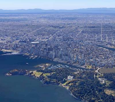 IMAGE: Vancouver has an ocean on one side, mountains on the other, a temperate climate and is one of the top-rated tech markets in the world. These factors will all help its office sector easily ride out the COVID-19 pandemic, a new CBRE report suggests. (Google Maps)