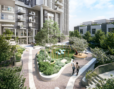 IMAGE: A courtyard outside Wesgroup's Paradigm condo building. It will be part of 25 acres of parks in the master-planned River District. (Courtesy Wesgroup)