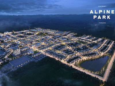 IMAGE: A view of much of the residential area at Dream Unlimited's Calgary Alpine Park. (Courtesy Dream)