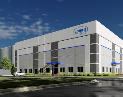 IMAGE: A 1.23-million-square-foot Lowe's Canada distribution centre is the latest massive industrial/logistics development in Rocky View County, just north of Calgary. (Courtesy Lowe's Canada)
