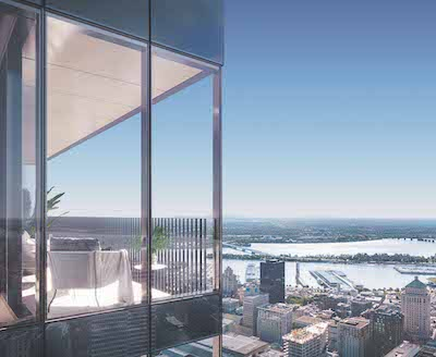 IMAGE: Artist's conception of a view from Brivia Group's 1 Square Phillips condominiums, a 61-storey tower now under construction in downtown Montreal. (Courtesy Brivia Group)
