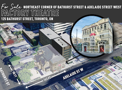 IMAGE: A JLL handout illustrating the Factory Theatre property in Toronto, which is being marketed for sale. (Courtesy JLL)