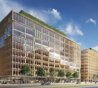 IMAGE: T3 Bayside is the first of two similar heavy timber office buildings being built at Hines' Bayside Toronto development. (Courtesy Hines)