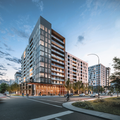 IMAGE: Trantor Realty has launched Monarc in the Montreal borough of Saint-Laurent. It will comprise more than 650 condo and rental units. (Courtesy Trantor)