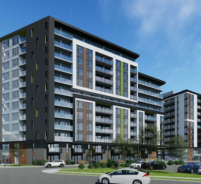 IMAGE: Groupe Heafey proposes these 11- and 12-storey rental apartment towers at 1420 Richmond Rd., 365 Forest St. and 2583-2589 Bond St. in Britannia Village in Ottawa's west end. (Courtesy Groupe Heafey)