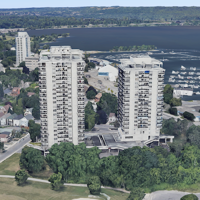 IMAGE: 35 Brock Street and 600 John Street North are sister towers on Lake Ontario in Hamilton. (Google Street View)