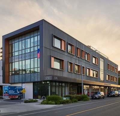 IMAGE: 376 Harbour Road is a LEED Gold certified, three-storey office and commercial building in Victoria. (Courtesy Goodman Commercial)