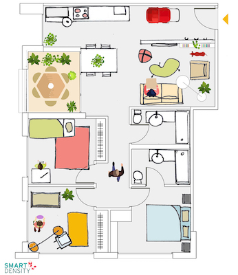 IMAGE: Design for a family-friendly, 790-square-foot multifamily unit created by Smart Density. (Courtesy Smart Density)