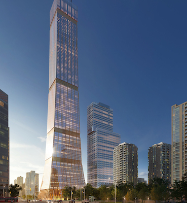 IMAGE: Toronto design firm DIALOG is seeking a patent for its design of a hybrid mass timber, net-zero carbon high-rise tower that could reach up to 105 storeys. (Courtesy DIALOG)