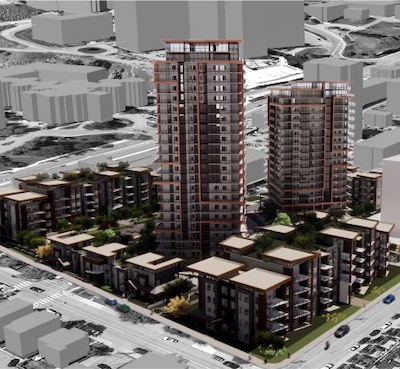 IMAGE: City Gardens is a $140-million multifamily development proposed for downtown Kamloops by Kelson Group. (Courtesy Kelson Group)