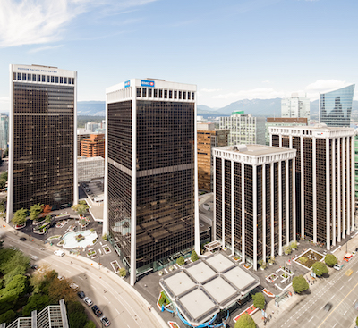 IMAGE: The Bentall Centre office and retail complex in downtown Vancouver. (Courtesy Hudson Pacific Properties)