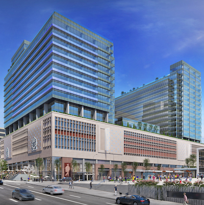 IMAGE: Amazon will lease all the office space in both towers at The Post in Vancouver. (Courtesy Amazon, Quadreal)