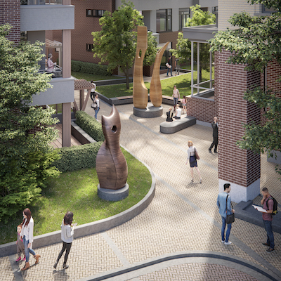 IMAGE: A view of an outdoor area at the Esquimalt Town Centre. (Courtesy Aragon Properties)
