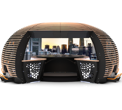 IMAGE: The Station IX multimmersive experience involves a 270-degree visual chamber. Creator Imagine 4D is seeking a residential real estate developer bringing a project to market within the next year or so to partner and develop a marketing experience. (Courtesy Imagine 4D)