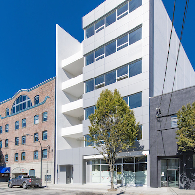IMAGE: The Bench Railtown office and retail building at 353 Railway Street in Vancouver. (Courtesy Rendition, Colliers)
