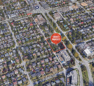 IMAGE: A full-block multifamily development site along Cambie Street in Vancouver is being marketed by Avison Young in Vancouver. (Courtesy Avison Young)