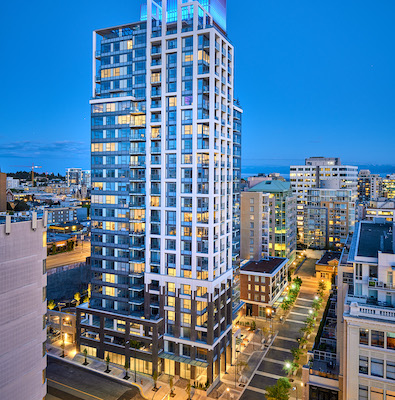 IMAGE: Hudson Place One condos is the latest addition to the Hudson District development in downtown Victoria, by Vancouver-based Townline. (Courtesy Townline)