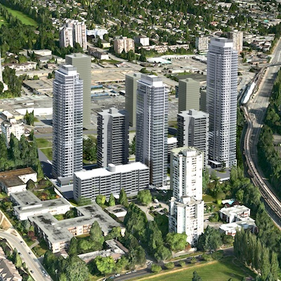 IMAGE: Starlight's development plan for Lougheed Village in Burnaby would add three towers and about 1,200 additional apartments to the community. (Courtesy Starlight)