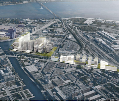 IMAGE: Devimco's proposed $2.5 billion Peel Basin mixed-use development. The firm has banded together with other Montreal developers to complain about growing bureaucracy, restrictions and delays in the approvals process by the city of Montreal. (Courtesy Devimco)
