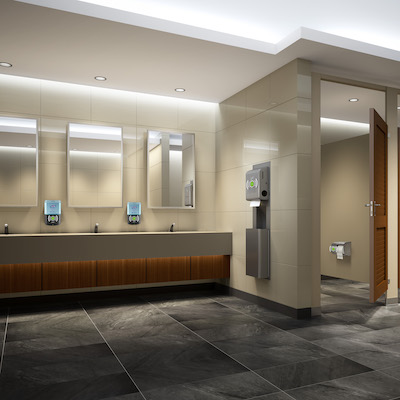 IMAGE: The Onvation system by Kimberley-Clark employs sensors to alert building managers and staff to the status of supplies and usage of restrooms. (Courtesy Kimberley-Clark)