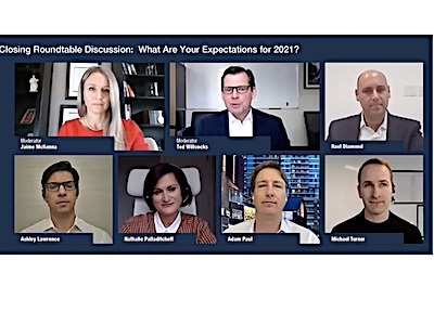 IMAGE: The closing panel from the Real Estate Forum in Toronto: From top left Jamie McKenna, Ted Willcocks, Rael Diamond, Michael Turner, Adam Paul, Nathalie Palladitcheff, and Ashley Lawrence. (Screengrab courtesy Real Estate Forum)