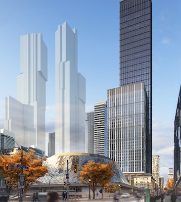 IMAGE: Dream Office REIT and Humblod Properties are planning a 79-storey mixed-use tower at 212 King St. West in Toronto. (Courtesy SHoP Architects)