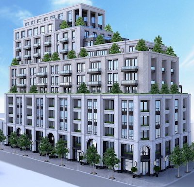 IMAGE: NYX Capital plans to build this mixed-use condo development at a 12-property site it has assembled at Yonge and Lawrence in Toronto. (Courtesy NYX)