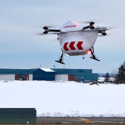IMAGE: A Sparrow drone in use in the GTA by Drone Delivery Canada. Developers and CRE owners and managers are beginning to consider creating drone spots at some of their properties. (Courtesy Drone Delivery Canada)