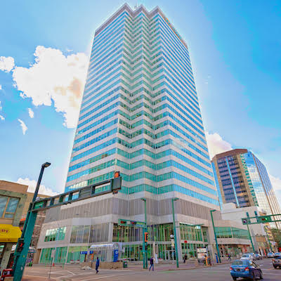 IMAGE: The Canadian Western Bank office tower in Edmonton has been sold by BentallGreenOak to Redstone Group. (Courtesy Colliers / Mat Simpson)