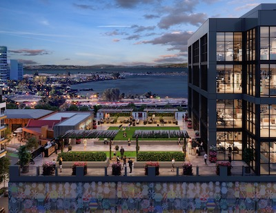 IMAGE: A rendering of Oxford's proposed addition to its new Public Market Emeryville life sciences property in the Bay Area of San Francisco. (Courtesy Oxford Properties)