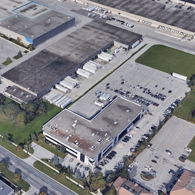 IMAGE: Parkit Enterprise as acquired this industrial/office facility at 5610 Finch Ave. East in Toronto. Directly behind it is Parkit's existing property at 5600 Finch Ave. East. (Google Maps)